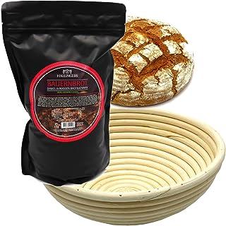 Hallingers Natürliche Brotbackmischung Gärkorb-Set 1.000g - Set Bauernbrotmix, Backmix und Gärkorb Aromabeutel - zu Weihnachten Passt immer