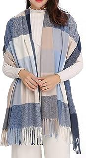 Womens Large Scarf/Plaid Shawl/Cashmere Feel Pashmina Shawl Wraps Soft Warm Blanket for Winter