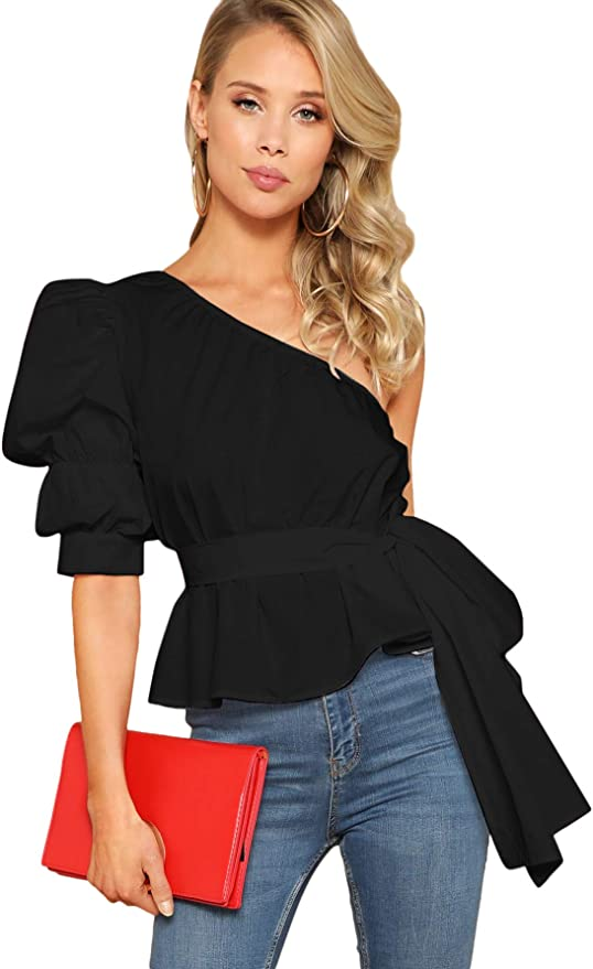 80s Fashion— What Women Wore in the 1980s Romwe Womens One Shoulder Short Puff Sleeve Self Belted Solid Blouse Top  AT vintagedancer.com