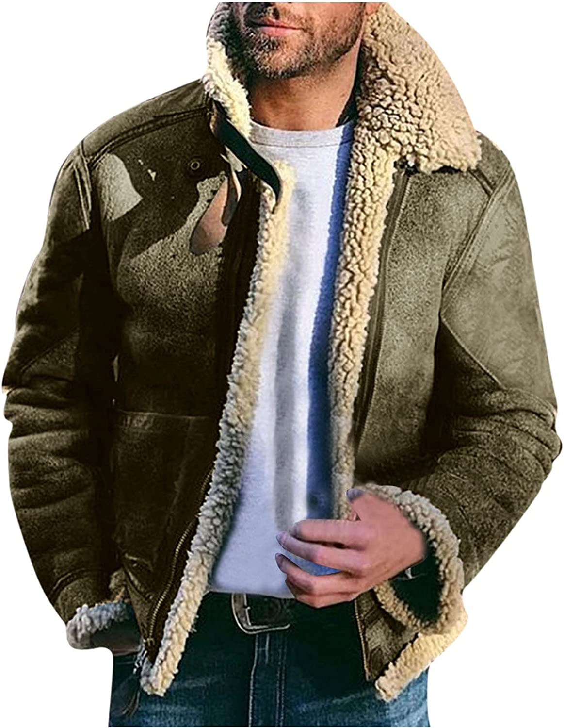 Winter Warm Jackets Coats for Men, Casual Sherpa Fleece Lined Jackets Fur Collar Trench Coats Big and Tall Outwears