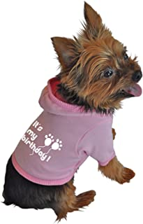 Ruff Ruff and Meow Dog Hoodie, Its My Birthday, Pink, Extra-Small