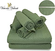 Victoria Valenti Embossed Sheet Set with 4 Pillow Cases (Two in The Twin Size), Double Brushed and Ultra Soft with Deep Pockets for Extra Deep Mattress, Microfiber, Hypoallergenic Queen