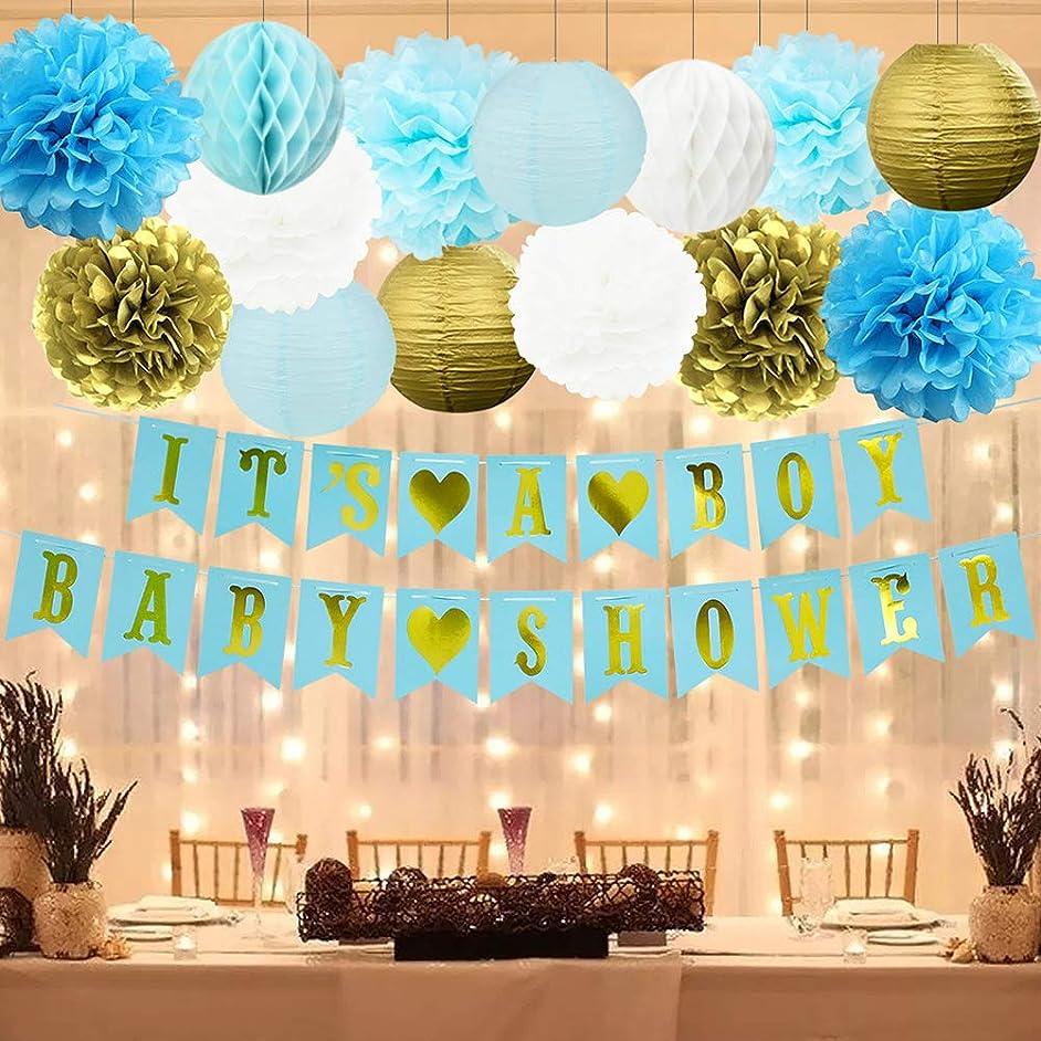 HappyField Boy Baby Shower Decorations - IT'S A BOY BABY SHOWER Banner Tissue Pom Poms Paper Lanterns Honeycomb Balls Battery Powered LED String Lights Blue Gold Baby Shower Decorations For Boy