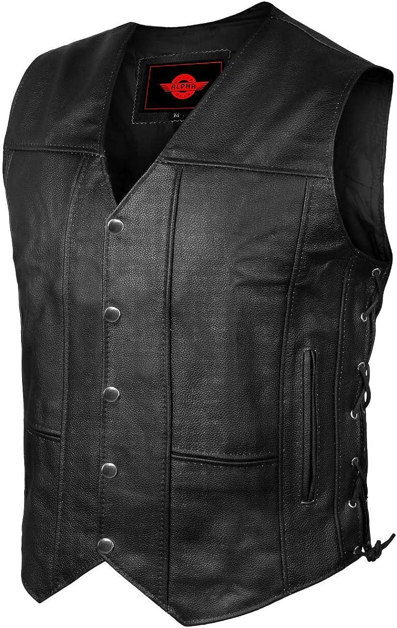 Gorgeous Alpha Leather Store Motorcycle Vest for Men Ve Black Biker Club Riding