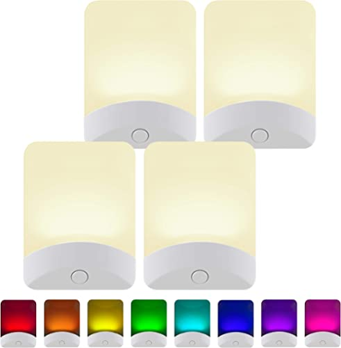 GE White Color-Changing LED Night Light, 4 Pack, Plug-in, Dusk-to-Dawn, Home Décor, UL-Listed, Ideal for Bedroom, Bat...