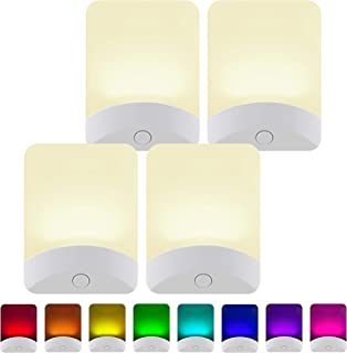 GE White Color-Changing LED Night Light, 4 Pack, Plug-in, Dusk-to-Dawn, Home Décor,..