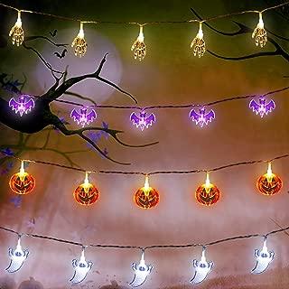 Set of 4 Halloween String Lights, 10 Feet 20 LEDs Orange Pumpkins, Purple Bats, White Ghosts, White Skeleton Hands Battery Powered String Lights for Halloween Decorations Outdoor Indoor