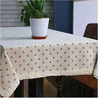 Linen Flower Function Printing Rectangular Tablecloth with Lace Side Tablecloth,White Point Gray Flo,150X300Cm
