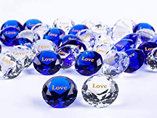 ROCKIMPACT 48PCS Love Large Engraved Crystal Diamond Jewel Home Décor, Bulk Wholesale Wedding Table Decoration, Paperweigh...