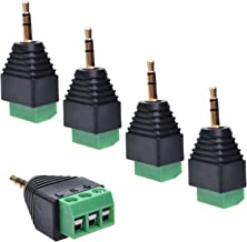 LUTIONS 5pcs 3.5mm (1/8inches) Stereo Audio Male to AV 3-Screw Terminal Female Phoenix Adapter Connector
