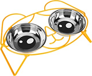 E-ROOM TREND Elevated Dog Bowls,Cute Metal Raised Dog Food Bowl for Cat and Small Dog Come with 2 Stainless Steel Dog Bowl...