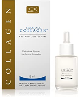 SALCOLL COLLAGEN Eye & Lips Serum - Anti-Wrinkle and Anti-aging Hypoallergenic Lips & Eye Serum for Women and Men with Marine Collagen to reduce Wrinkles, Eye Bags & Dark Circles - 15 ml