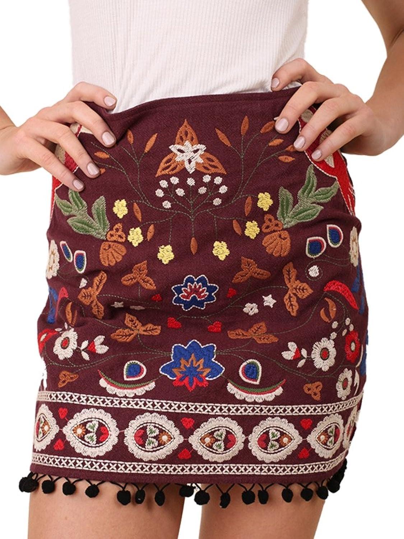 Umgee Women's Embroidered Skirt Pom Pom Trim Fall Preview