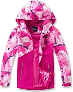 Hiheart Girls Boys Fleece Lined Jacket Waterproof Outdoor Windbreaker