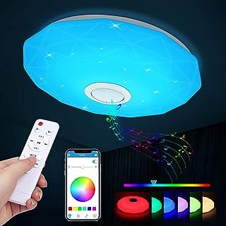 Plafonnier LED, 36W Luminaire Plafonnier avec Haut-parleur Bluetooth Musiqu, Plafonnier Chambre RGB avec télécommande et c...