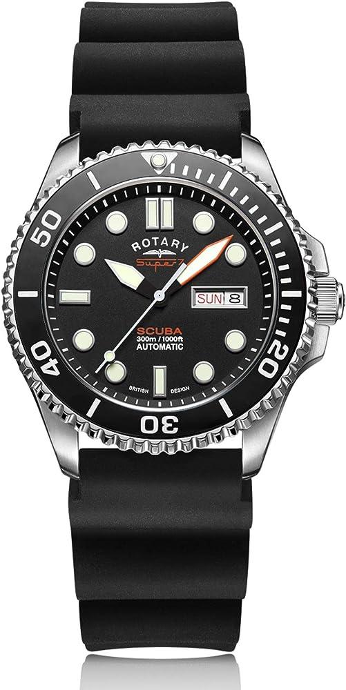 Rotary - orologio automatico super 7 scuba, da uomo,con cinturino in silicone S7S001S
