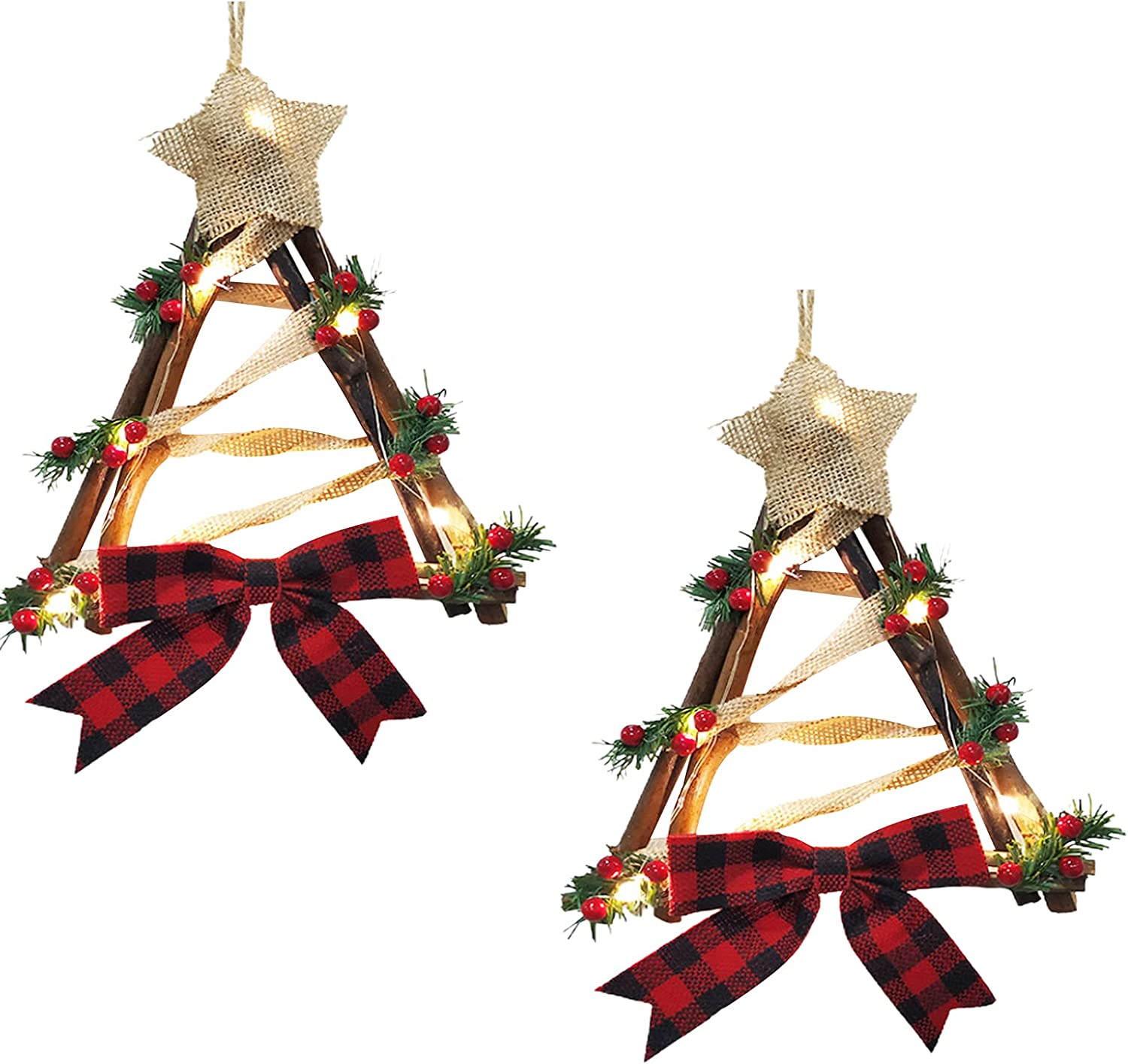 Mokyler Cheap mail order shopping discount 2 PCS Christmas Wreath Bow Rattan Ornaments Red Triangle