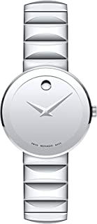 Movado Women's Sapphire Stainless Steel Watch with a Concave Dot, Silver Faceted Bracelet (607213)