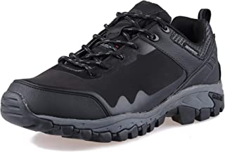 GRITION Mens Hiking Boots Waterproof Work Boots with Warm Lining for Outdoor Walking Trekking Travelling Black