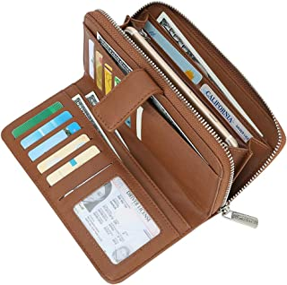 Cynure Women's Long 20 Slots Card Holder Leather Long Zipper Clutch Wallet for Ladies