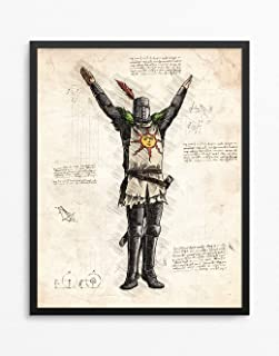 Dark Souls Print, Solaire of Astora Print, Dark Souls Poster, Solaire of Astora Poster, Gaming Room Decor, Game Art, N.007 (12 x 16 inch)