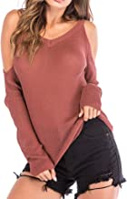T Shirts for Women,Fashion Women Solid O-Neck Long Sleeve Cold Shoulder Knitted Sweater Causal Top