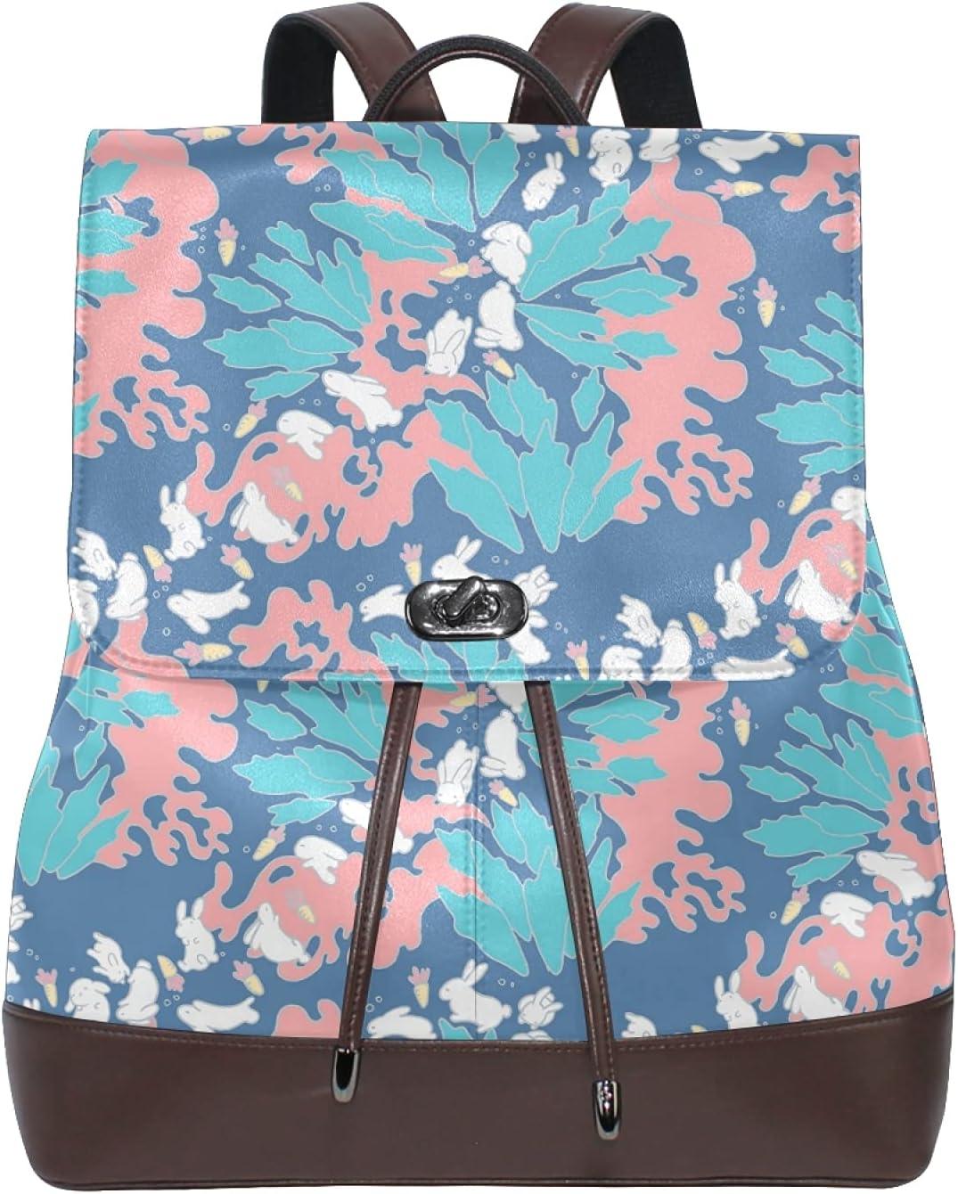 Women Leather Backpack Ladies Fashion Shoulder Bag Large Travel Bag Rabbits Leaves