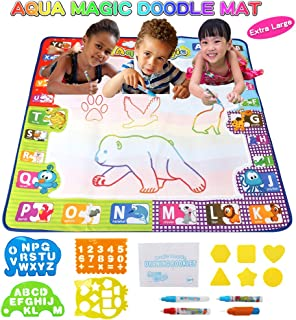 Rcail 4Kids Aqua Magic Doodle Mat Large Educational|Non-Toxic Mat|Mess Free Coloring|Toddler Painting Board|Magic Markers|Reusable|Water Drawing Mat for Kids|Gift for Boy-Girl|Travel Toys|Doodle Board