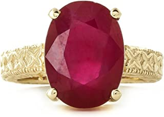14K Solid White Rose Yellow Solid Gold Filigree Ring with Oval Shape Ruby