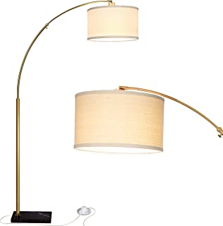 Brightech Logan LED Arc Floor Lamp with Marble Base - Living Room Lighting for Behind The Couch - Modern, Tall Standing Hanging Light - Brass/Gold
