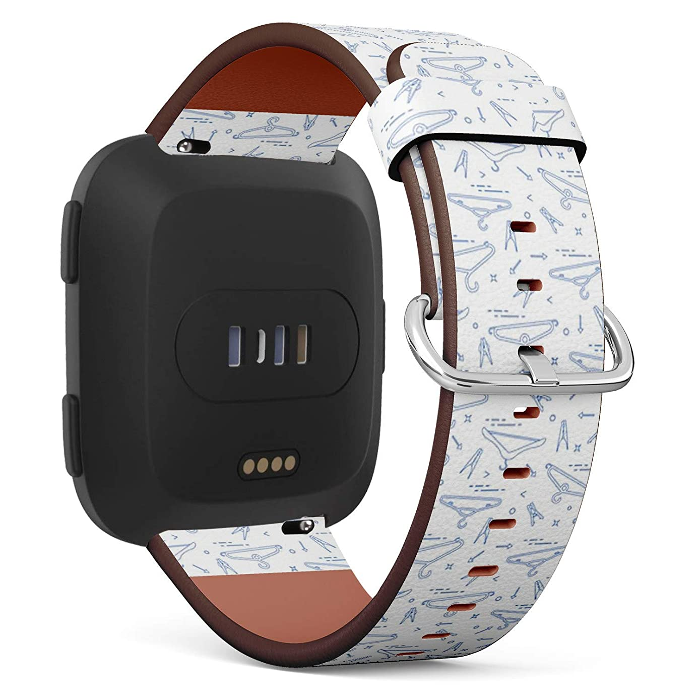 Compatible with Fitbit Versa - Quick-Release Replacement Accessory Leather Band Strap Bracelet Wristbands (Clothes Hangers Clothespins)