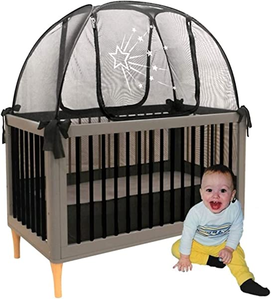 Baby Crib Safety Pop Up Tent Premium Net Cover Crib Tent To Keep Baby From Climbing Out See Through Black Crib Netting Nursery Mosquito Net Baby Bed Canopy Netting Cover