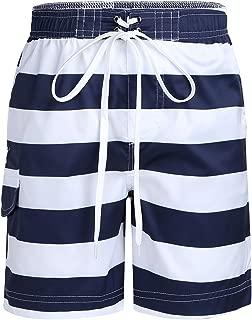 MSemis Kids Children Boys Striped Beach Shorts Quick Dry Swim Trunks Boardshorts with Pockets Swimwear