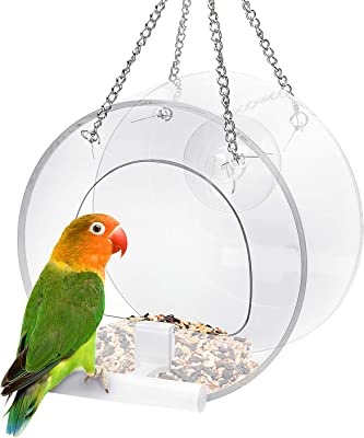 Jhua Hanging Window Bird Feeder, Outdoor Clear Acrylic Bird Cage Birdfeeder Unique Round Birdhouse Splash Cage Hanging Feeding Bowl with Strong Suction Cups Hanging Chain for Bird Watching Cardinals