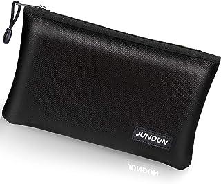 "JUNDUN Fireproof Money Bag, 10.6""x6.7"" Fire and Water Resistant Cash Bag with Zipper Closure,Fireproof Safe Storage Pouch ..."