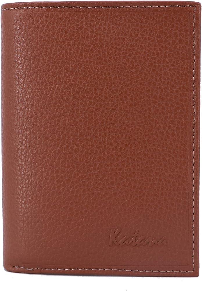 Katana, portafogli, porta carte di credito per uomo, in pelle, marrone