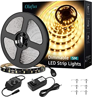 Olafus Dimmable LED Strip Lights Kit, 16.4ft 300 LEDs 2835 Under Cabinet Light with 12V UL Listed Power Supply, LED Tape Light for Kitchen Bedroom Bar, Non-Waterproof LED Ribbon 3000K Warm White