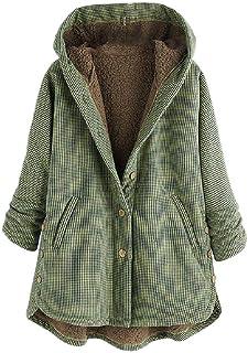 Women Plaid Single Breasted Oversized Hoode Long Jacket with Pocket