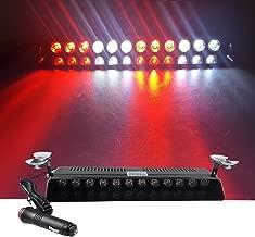 12V Car Truck Emergency Strobe Flash Light Sucker Dashboard Interior Windshield Warning Light Bar Current (12LED, Red White Red White)