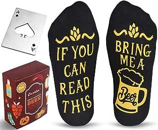 Beer Lover Set with Men's Novelty Beer Socks and Bottle Opener Black