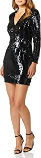 Dress the Population womens Riley Long Sleeve Plunging Short Cocktail Dress Dress