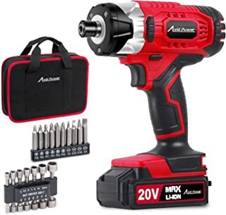 "Impact Driver Kit, 1590 in-lbs 20V MAX Cordless 1/4"" Hex Impact Drill, Variable Speed, with 14Pcs Sockets, 10Pcs Driver Bits and Tool Bag, Avid Power"