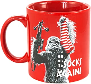 Star Wars Chewbacca Coffee/Tea 20 Ounce Mug, Oversized – Ceramic, Red with Funny Chewie Quote, Socks Again – Large Capacity, An Ideal Gift for Dads and Starwars Fans to use at Home or Office