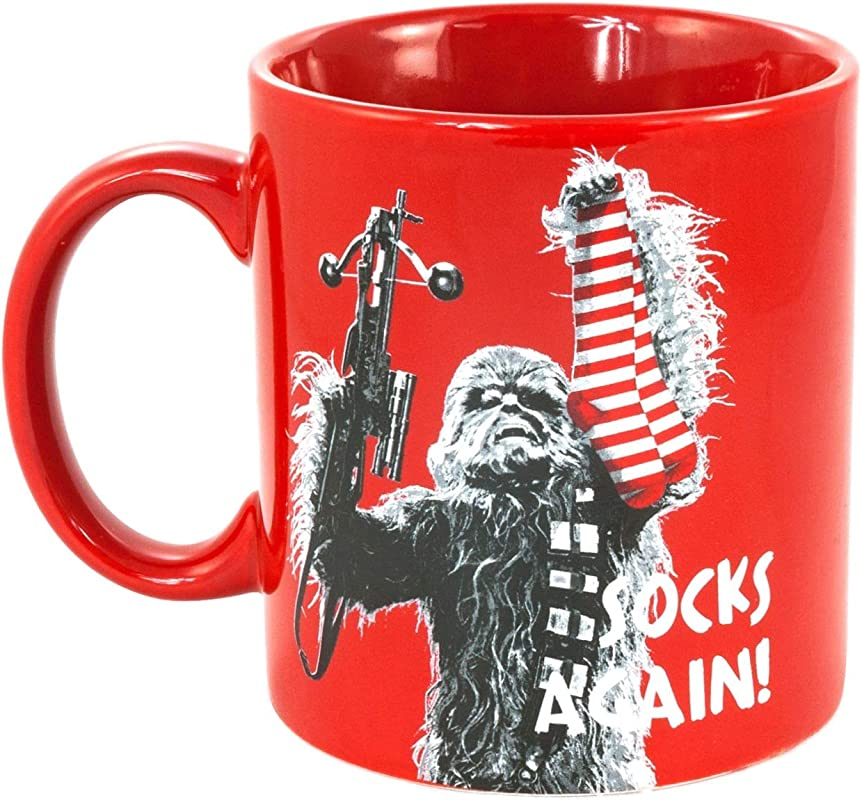 Star Wars Chewbacca Coffee Tea 20 Ounce Mug Oversized Ceramic Red With Funny Chewie Quote Socks Again Large Capacity An Ideal Gift For Dads And Starwars Fans To Use At Home Or Office