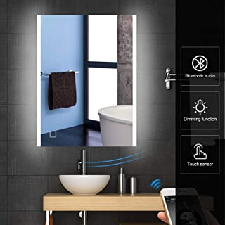 """HEYNEMO 32""""x24"""" Bluetooth Bathroom LED Lighted Vanity Mirror Wall Mounted Makeup Mirror, Waterproof Dimmable One Touch Con..."""