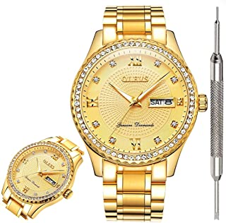 Luxury Diamond Watches for Men Quartz Business Watch Waterproof Watches Roman Numeral Calendar Week Wrist Watch Gift for Birthday Christmas New Year's Day
