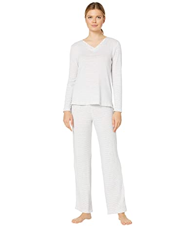 Carole Hochman Dreamy Sweater Knit Pajama Set (Heather Grey Stripes) Women