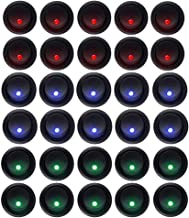 XT AUTO 20 Amp Led Round Rocker Toggle Light Switch Spst On-Off Control for Car Truck Pack of 30