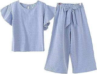 Girls Mandarin Sleeve Striped Shirt Top + Bowknot Loose Pants