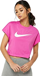 Nike Women's NSW SWSH Top Crop SS, Blue(Active Fuchsia/White623), Large
